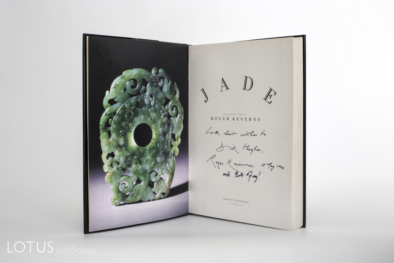 "Roger Keverne's 1991 Jade brought together experts from around the world. It is arguably the finest modern work on jade. This copy is signed by two of the authors to Richard Hughes. Such ""dedication"" copies are generally more valuable, particularly if the person they are dedicated to is famous."