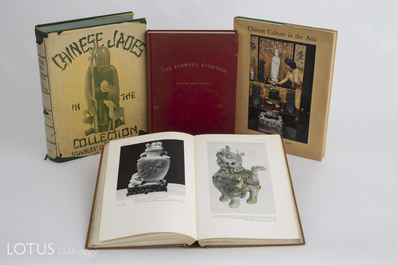 Charles Stanley Nott was perhaps the most prolific 20th century writer on jade. Here are four of his most collectable titles. In the foreground is his 1936 Chinese Jade Throughout the Ages. Note that two of these books feature dust jackets, which adds value, as so many were discarded.