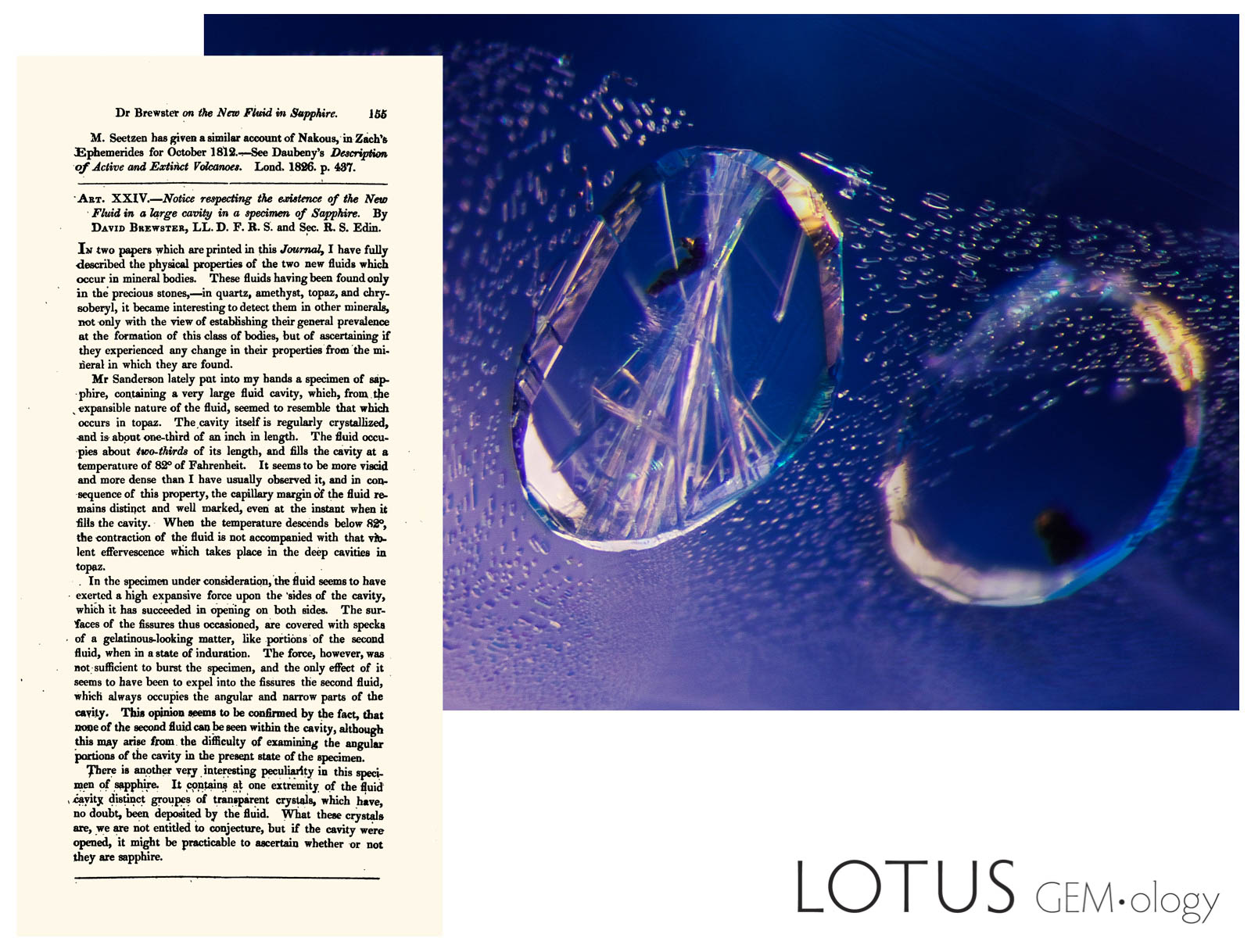 David Brewster's 1927 article (left) perfectly describes the kind of negative crystals that are typical of Sri Lankan sapphires (right). Photomicrograph: E.  Billie Hughes. Click on the photo for a larger image.