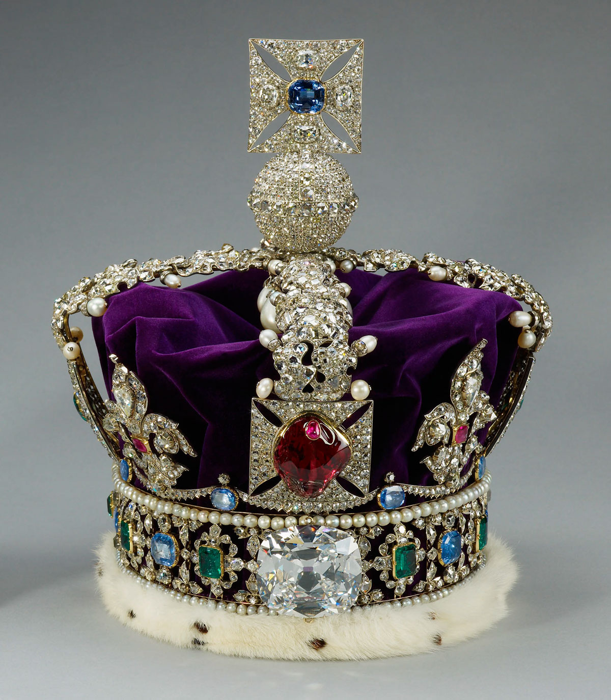 Perhaps the world's most famous gem, the Black Prince's Ruby (front, center), is actually a large red spinel. Its history is documented back to 1366 AD. Today it is mounted on the front of Britain's Imperial State Crown, which is located in the Tower of London. Britain's Imperial State Crown contains more famous gems than virtually any other ornament in the world, including the Black Prince's Ruby, the Stuart Sapphire (not visible), St. Edward's Sapphire (on top) and the Cullinan II diamond (below the Black Prince's Ruby).