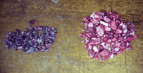 Mong Hsu ruby before (left) and after (right) heat treatment. This clearly shows that most Mong Hsu ruby is not a viable gem without heat treatment. Photo: R.W. Hughes, Lotus Gemology.
