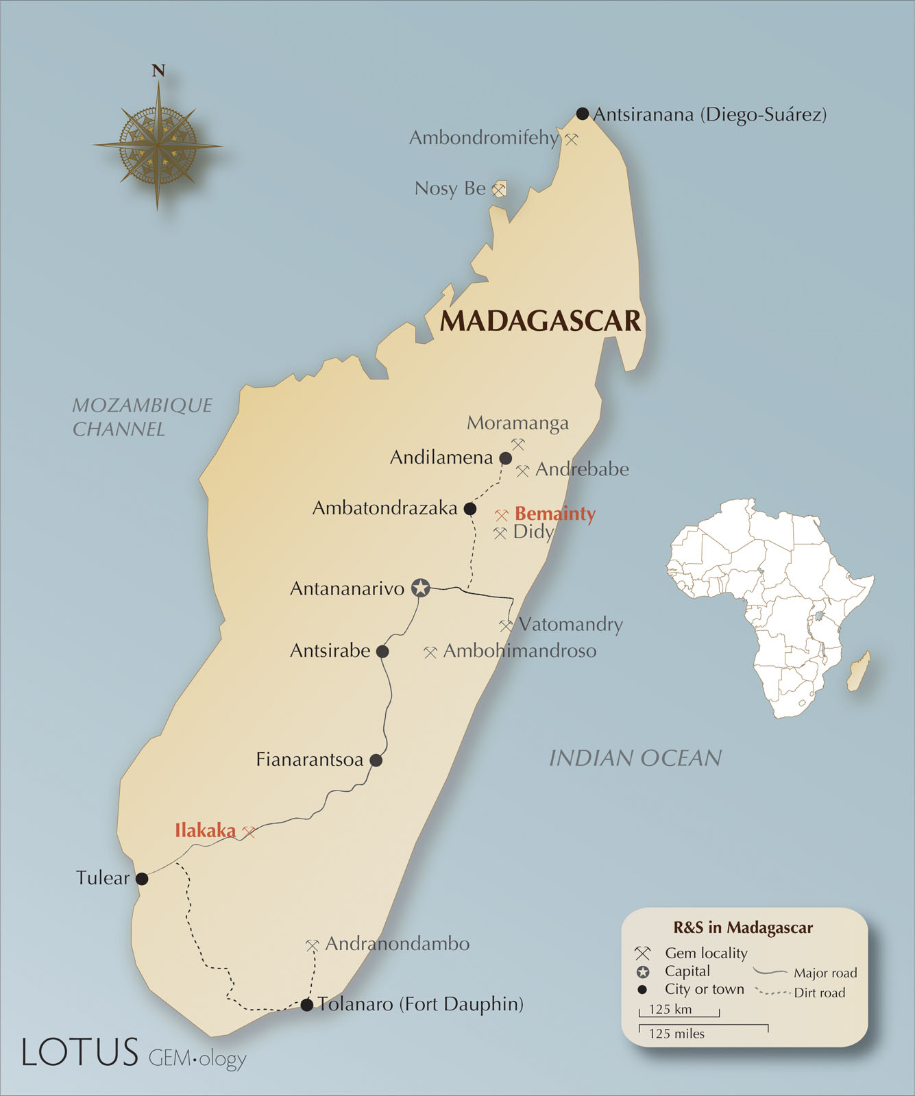 Map of Madagascar, including the most notable corundum localities. Ilakaka, Bemainty, and Andranondambo, the sources of samples used in this experiment, are highlighted in red. Maps by Richard Hughes.