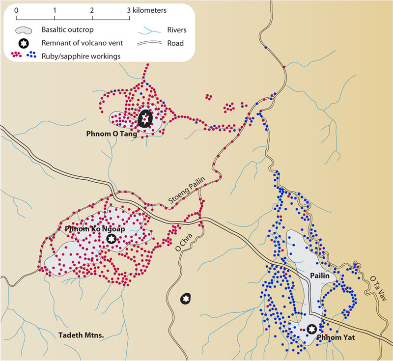 Map of Pailin's ruby & sapphire deposits