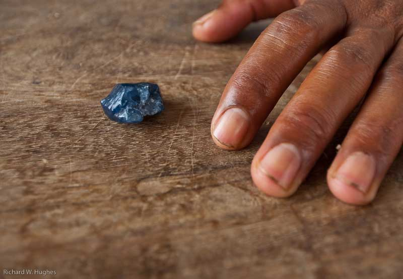 Rough sapphire at Pailin, Cambodia. Photo © Richard W. Hughes.
