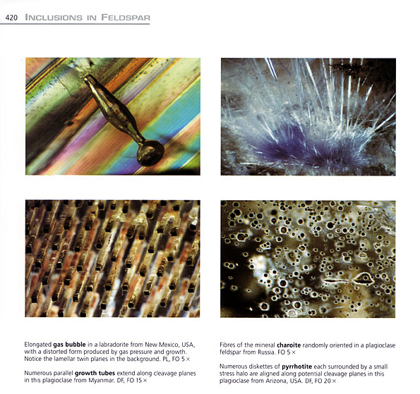 A typical page from the Photoatlas of Inclusions in Gemstones, Volume 2, showing the stunning imagery found betwixt its covers. Feldspars, page 420.