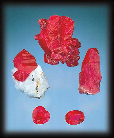 Rough and cut rubies from Burma, Vietnam and Afghanistan. Photo: Harold & Erica Van Pelt; Gems: Pala International