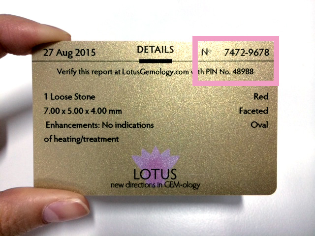 The lotus card comes with each Lotus Gemology report and provides a summary of the testing data.