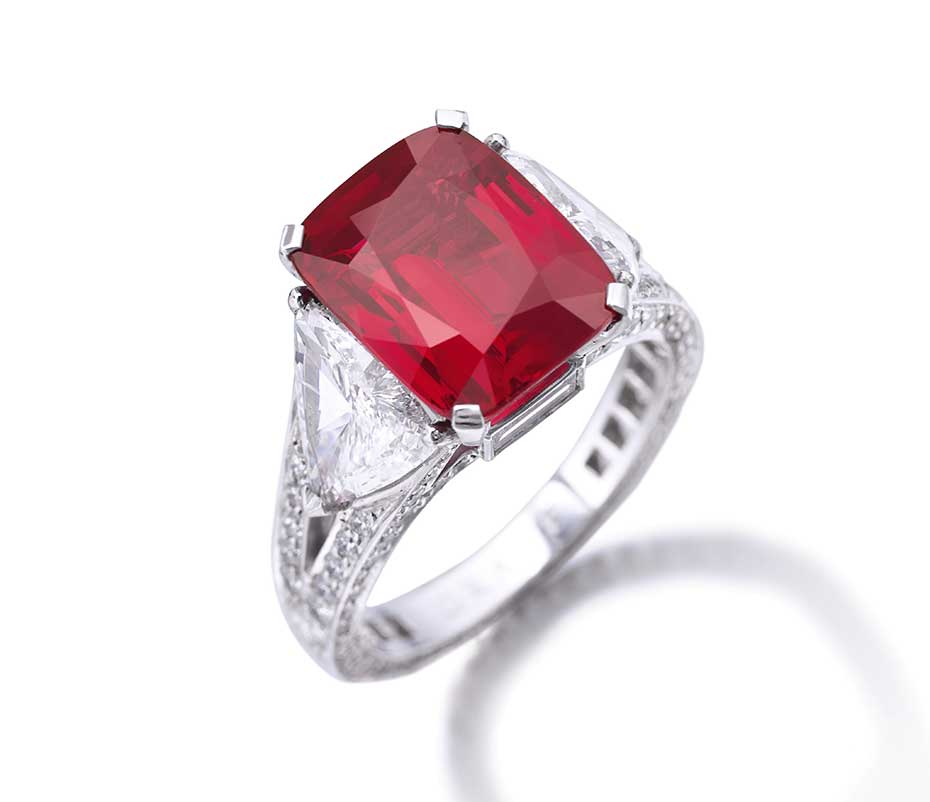 This 8.62 ct Burmese ruby ring by Graff sold for US$8.57 million ($994,040/ct) at Sotheby's Geneva on 12 November, 2014, then a total price world ruby auction record. Image © Sotheby's