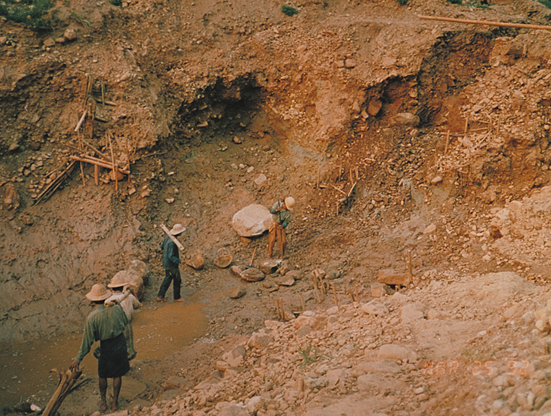 Sapphire mine of U Mya Mg at Khabine, near Gwebin, Mogok, Burma. In February of 1994, this mine yielded the 502-ct sapphire crystal in Figure 6.