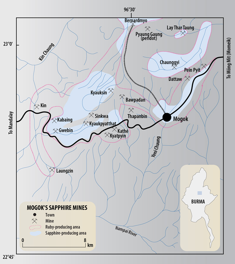 Map of the sapphire-producing regions of Burma's Mogok Stone Tract.