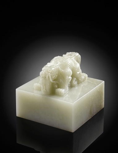 "Figure 10. This large white imperial nephrite ""Xintian Zhuren"" seal sold in 2010 for US$15,680,467, at the time a price even beyond that of any jadeite jade.  Image © Sotheby's"