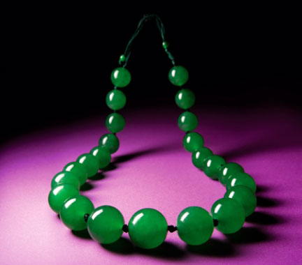 Figure 11. A then record price at auction for jadeite jade was set in 2012 when this necklace sold for US$13 million.  Image © Tiancheng International