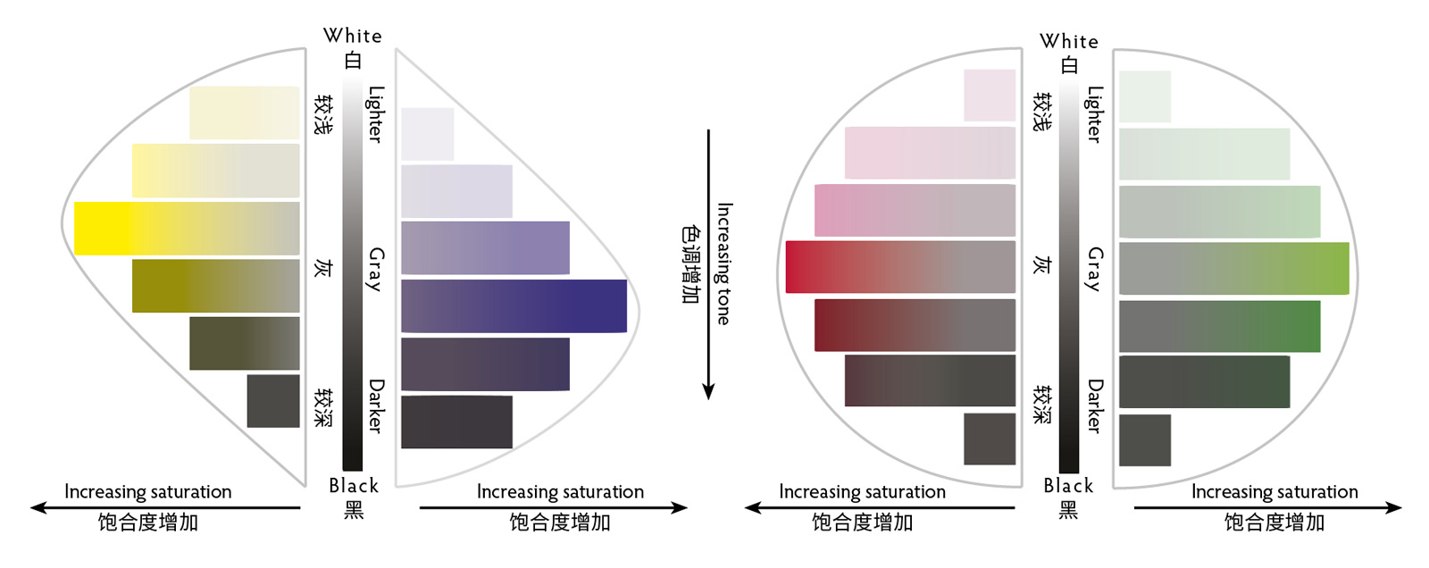 Vertical slices through the color solid along the yellow-violet and green-red axes. Saturation increases horizontally from the center, while lightness/darkness varies along the vertical axis. Note that the highest saturation of yellow is naturally much lighter than that for violet, while the highest saturations of red and green share a similar lightness.