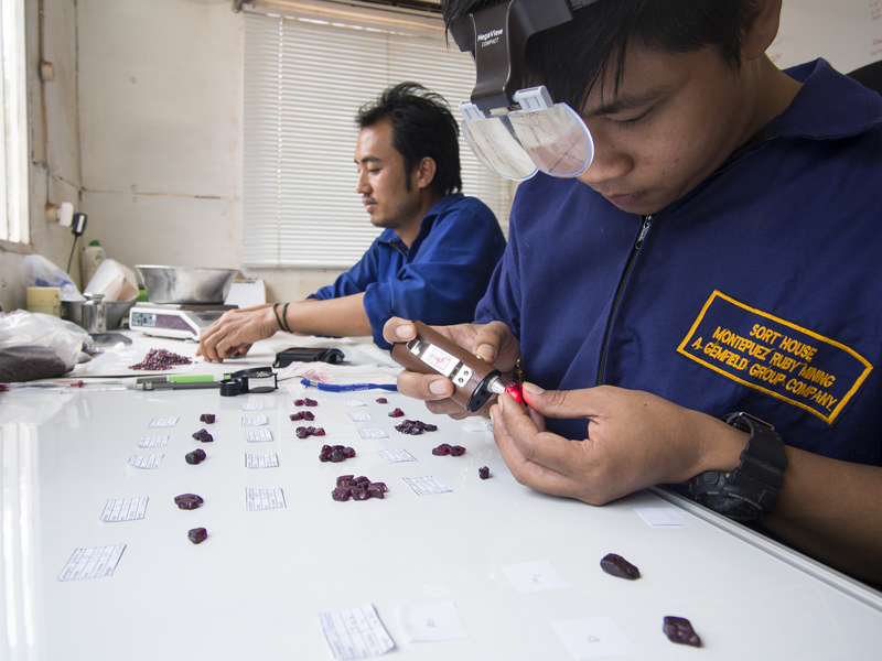 When grading gems, viewing geometry, background and controlled lighting are crucial. Here we see Burmese staff sorting rough at Gemfields' Montepuez ruby mines. Although it is not consistent, natural daylight is still superior to all other light sources, because windows provide lots of lux and a large, diffuse radiating surface. The closest artificial equivalent is a xenon short arc source. While we use these in microscopy at Lotus Gemology, a unit for color grading has still yet to be developed. Photo: E. Billie Hughes, 2015