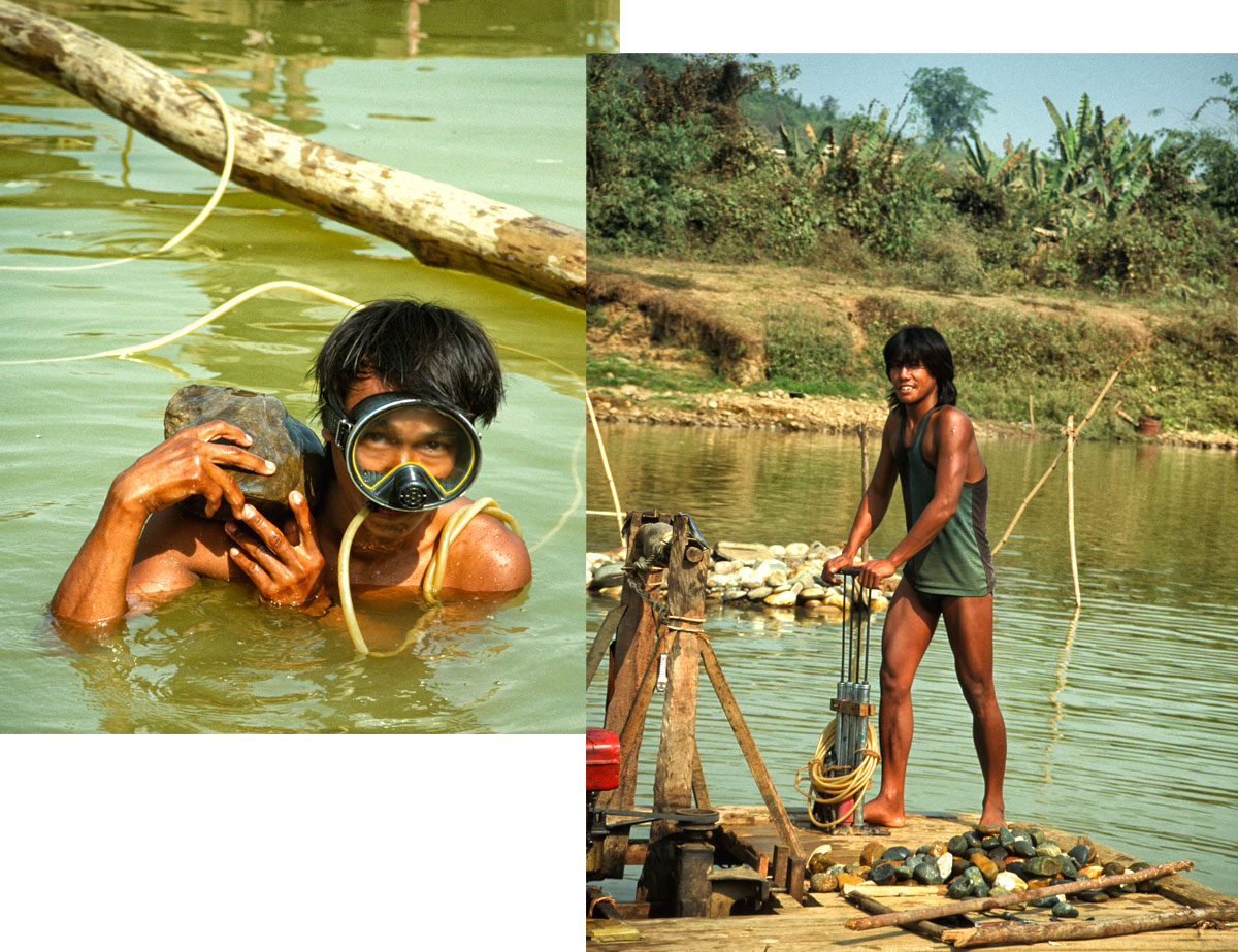 Figure 9. At Mamon and Maw-sisa in particular, miners take advantage of the seasons when the river is high to dive for jade. While a man on land or a raft works the crude air pump (which resembles four bicycle pumps strapped together), this diver at Maw-sisa searches the river bottom for jade with the hose between his teeth (inset). Photos © Richard W. Hughes. Click on the image for a larger photo.