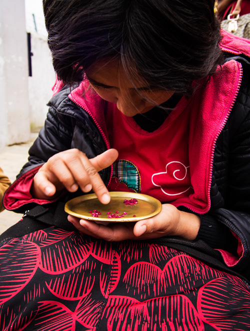 Figure 6. A woman sorts stones in Mogok's market. Brass trays were originally used to enhance the color of red stones, but have become so ubiquitous that now buyers bring their own brass trays. Photo: E. Billie Hughes