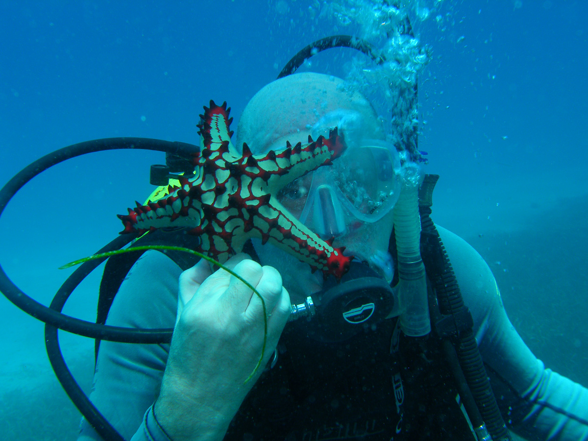Richard meets Mr. Starfish. Photo: Mark Smith