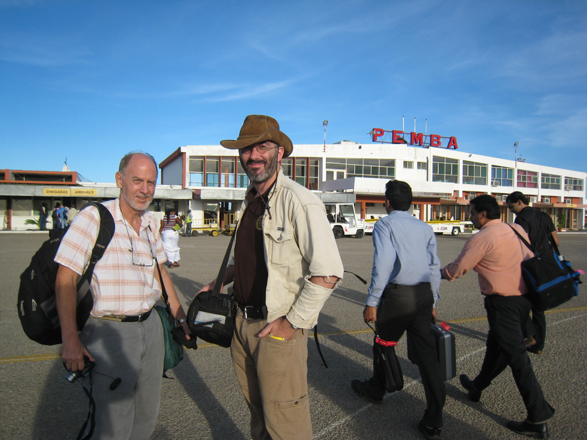 Mark Smith (left) and Vincent Pardieu (center) upon our arrival at Pemba, Mozambique, December 2009. Photo: Richard Hughes/Lotus Gemology.