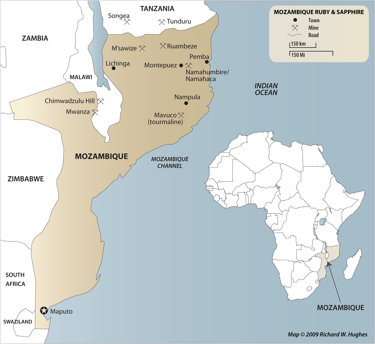 Map of Mozambique, showing the location of the ruby mines near Montepuez.