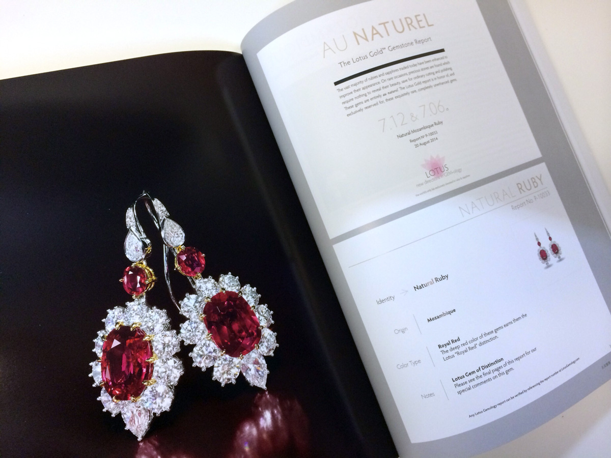 Lotus Gemology's Gold Report featured prominently in the auction catalog for the sale of this matched pair of 7 ct Mozambique rubies by Tiencheng International. These sold for US$1.7 million.