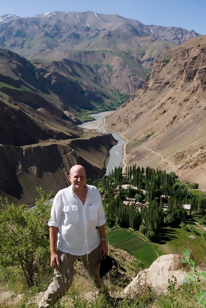 Richard Hughes at the storied Kuh-i-Lal spinel mines, which lie high on a mountain above the Panj (Pamir) River, which separates Afghanistan (left) from Tajikistan (right). Photo: Dana Schorr