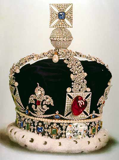 "One of the finest examples of a ""balas ruby"" (spinel) is the Black Prince's Ruby, a 140-ct. monster mounted in the front of the Imperial State Crown of Great Britain. It is on public display at the Tower of London. Photo from Younghusband, G. and Davenport, C. (1919)."