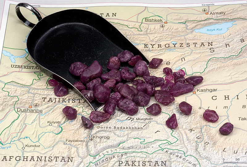 Map of Tajikistan with rough ruby