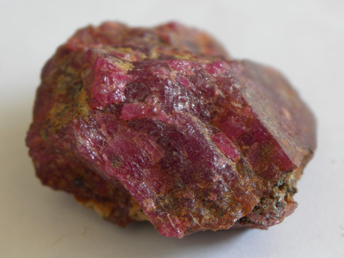 Rough Tajik ruby in the Gubjemast office in Dushanbe. Photo: Vincent Pardieu/fieldgemology.org