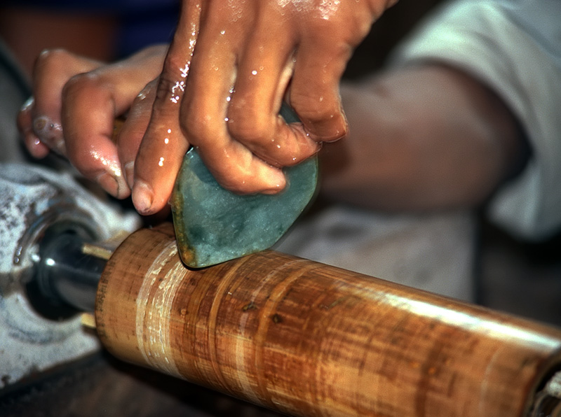 Bamboozled: Final polishing for jade cabochons is often done with a piece of bamboo mounted on the end of a lathe. This photo was taken in Mogaung's jade market.