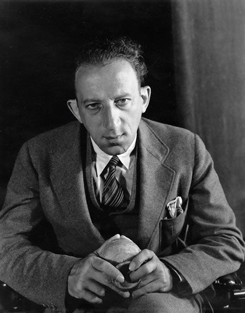 Alfred Salmony, as photographed by Imogen Cunningham in 1937 at Mills College in Oakland, California.
