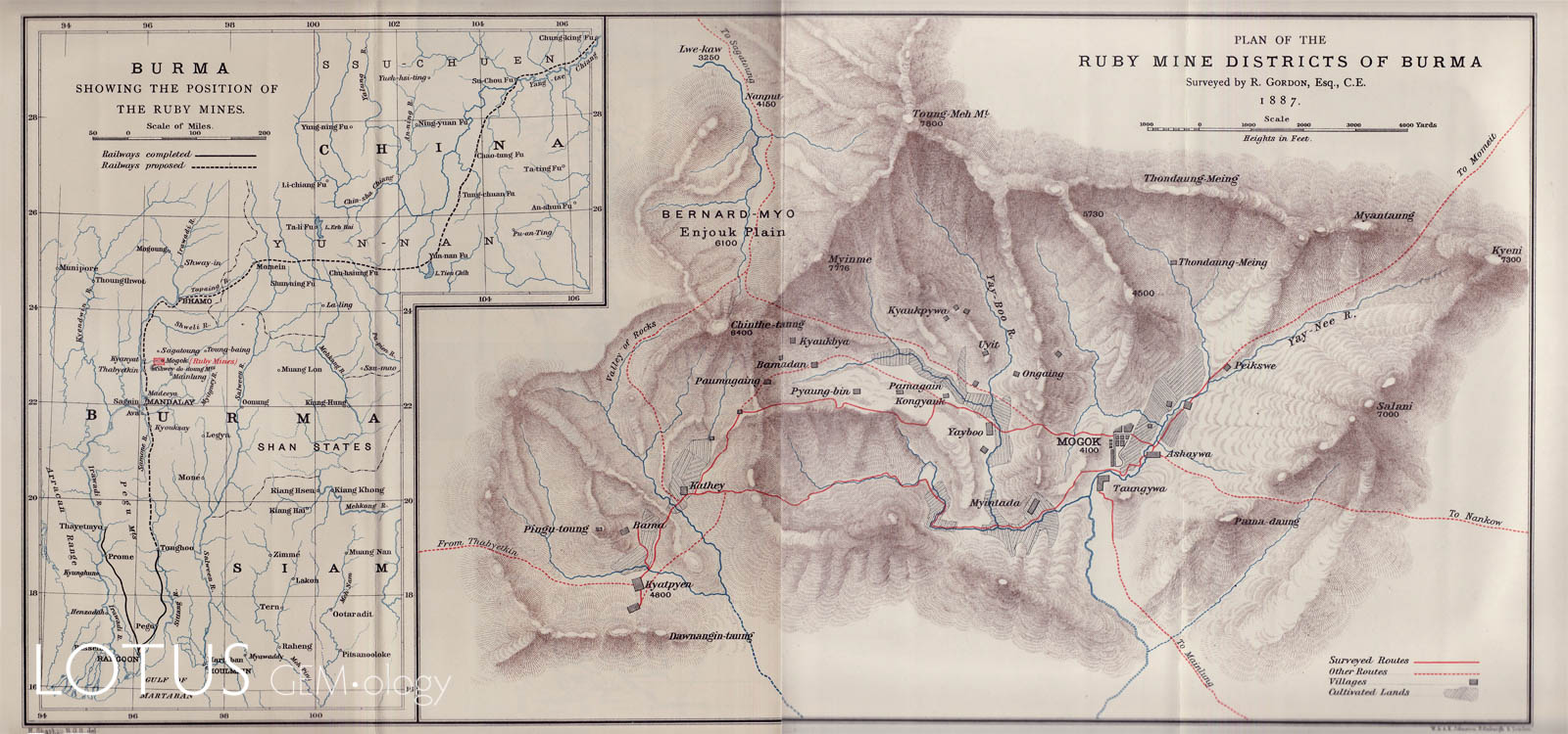 Robert Gordon was on the original British expedition to Mogok (Myanmar). His map, published by the Royal Geographical Society in 1888, was the first detailed map of the region. Click on the map for a larger image.