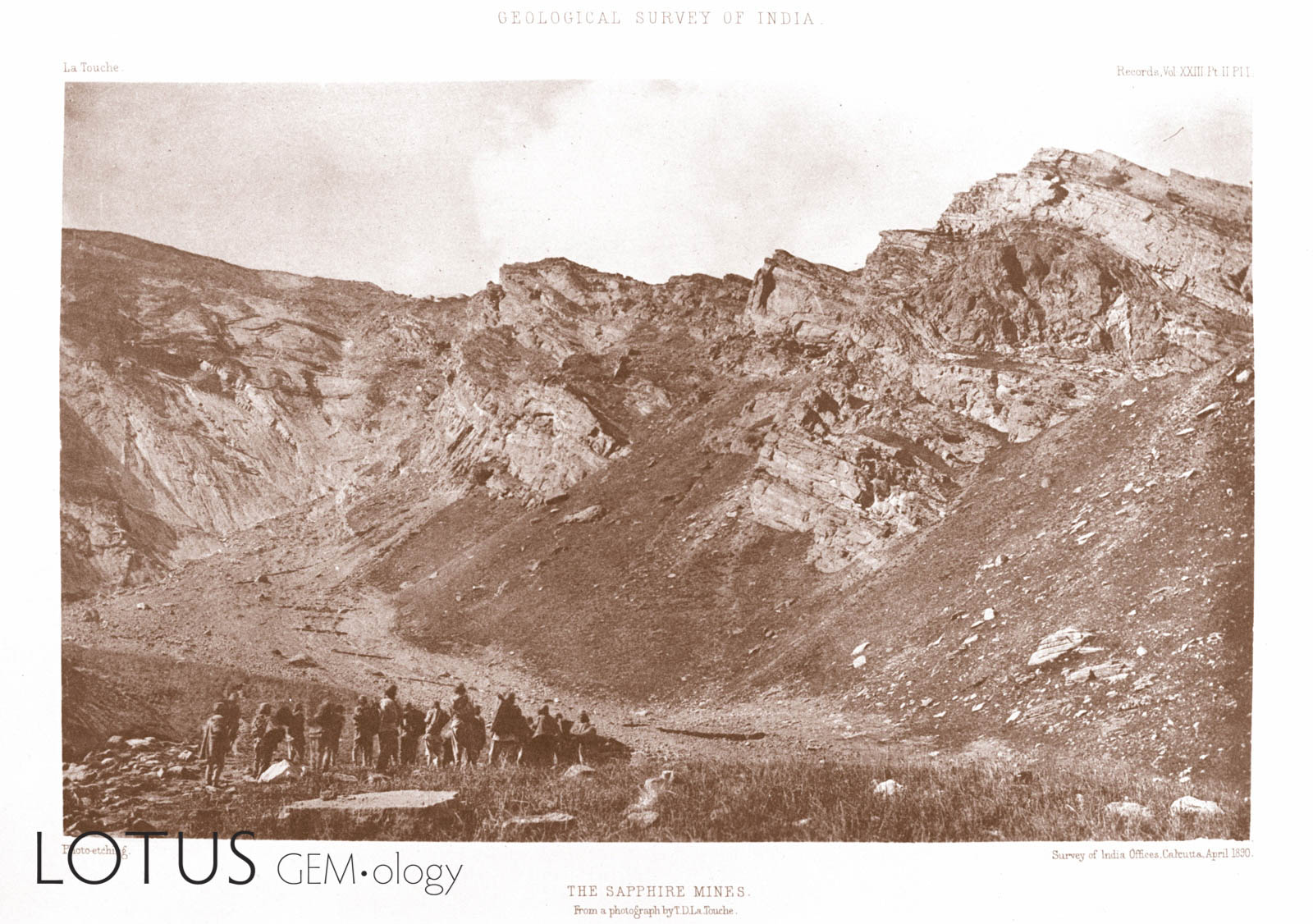 This photo from La Touche's rare 1890 description of the Kashmir sapphire mines was the first ever published on this storied deposit. Click on the photo for a larger image.
