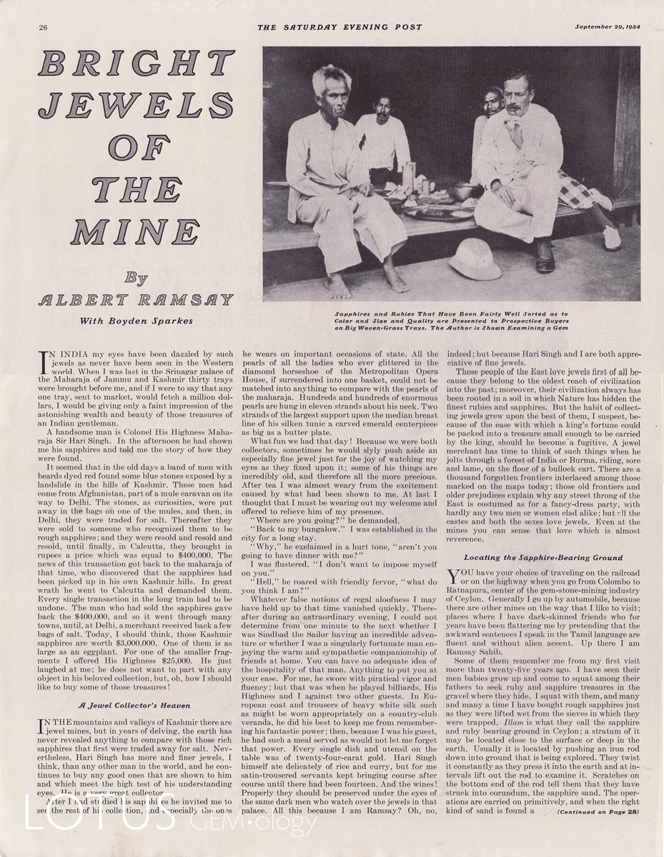 British gem cutter Albert Ramsay published a wonderful serialized account of his adventures in the gem trade in the Saturday Evening Post. Original copies of these articles are quite scare, in part because the magazine covers themselves are considered collectable. Click on a photo for a larger image.