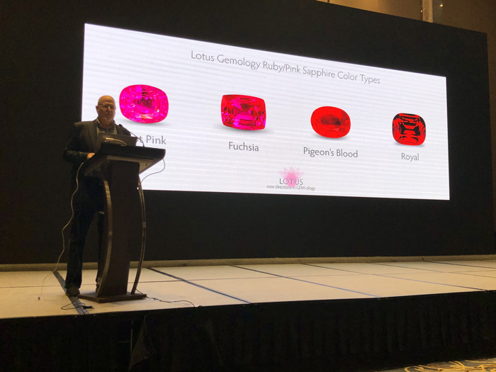 Lotus Gemology's Richard Hughes is one of the world's best known gemologists and has lectured around the world. Here he delivers an address on the colors of ruby and sapphire in Wuhan, China in May 2019. Lotus gemologists are much in demand as speakers.
