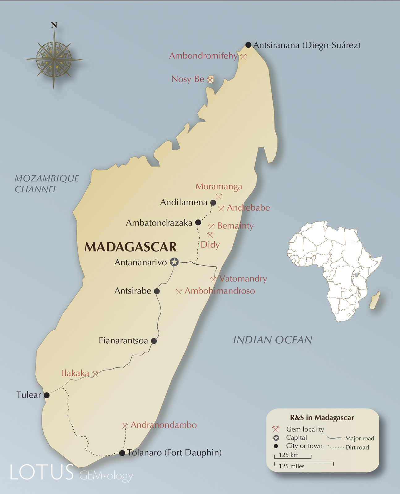 Map of Madagascar, showing the location of major ruby and sapphire mines and roads.