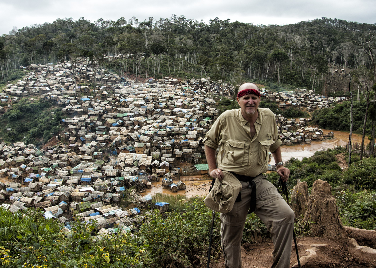 Lotus Gemology's Richard Hughes above Madagascar's Moramanga village. The new Madagascar ruby find is believed to be in this area. Photo: R.W. Hughes, September 2005.