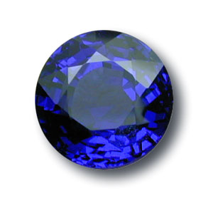 This 5-ct. plus untreated Burma sapphire currently available from Pala International shows the intense violetish blue color that has made Mogok sapphires among the most sought after in the world. It's round shape makes it particularly desirable. Photo: John McLean; Gem: Pala International