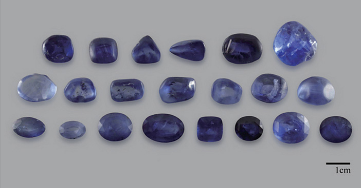 The same sapphires after HT+P treatment. As with conventional treatments, results vary according to the chemical makeup of the starting material.