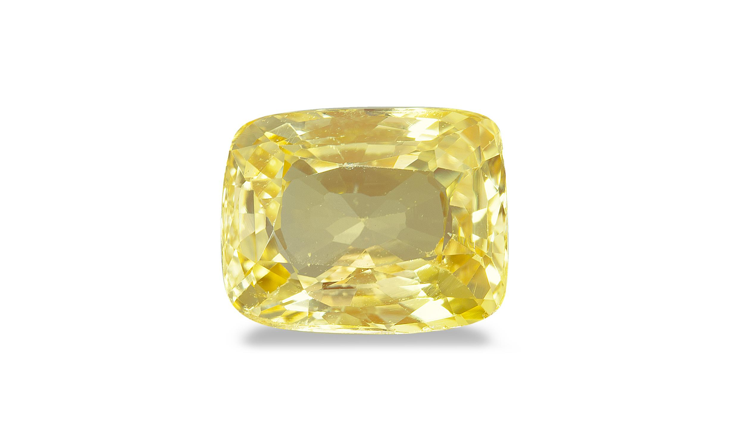 Figure 1. The 4+-carat yellow stone that is the subject of this report. Photo: Maitree Petchloun