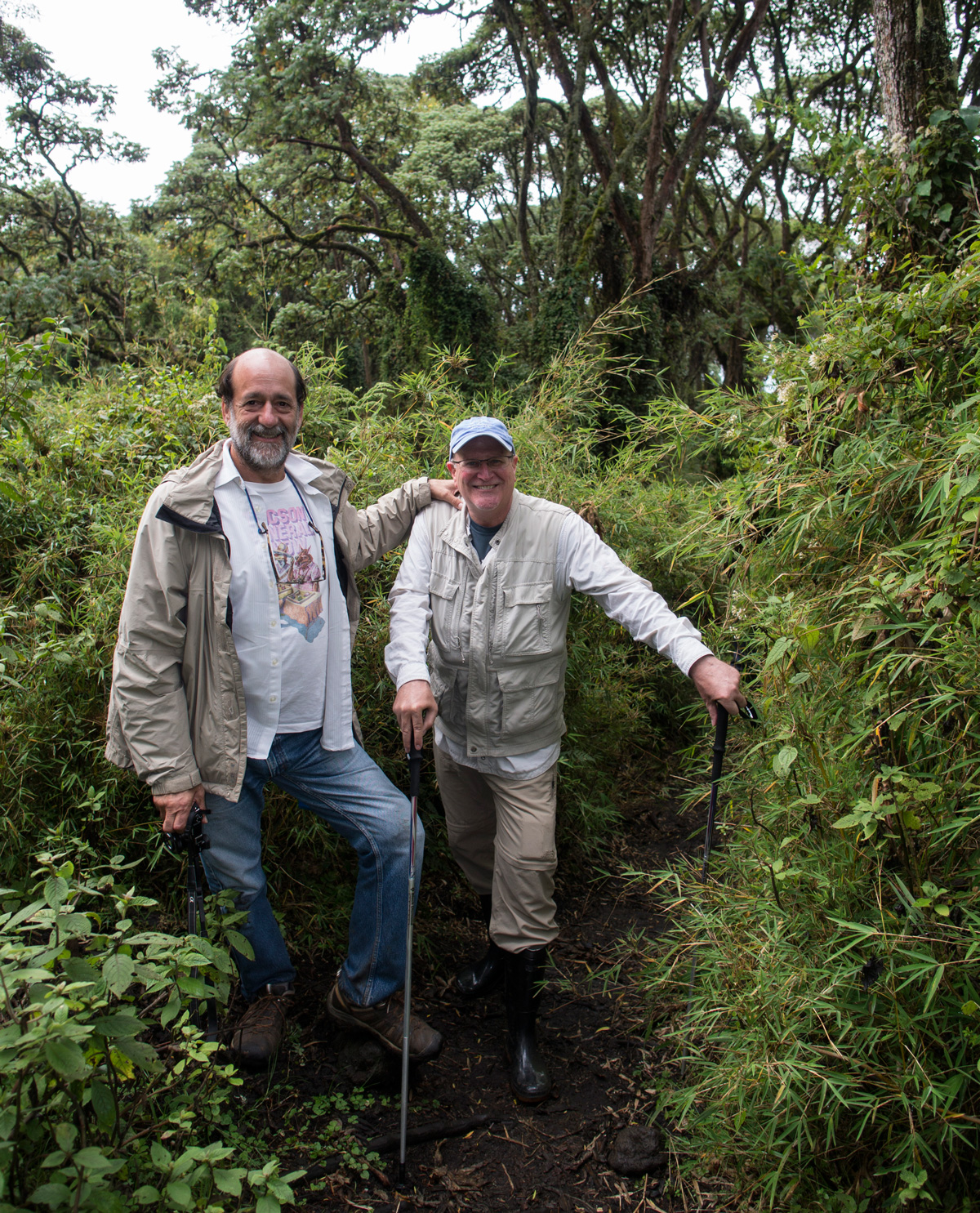 Dana Schorr and Richard Hughes returning from a trek to see the silverback gorillas in Rwanda in 2013.