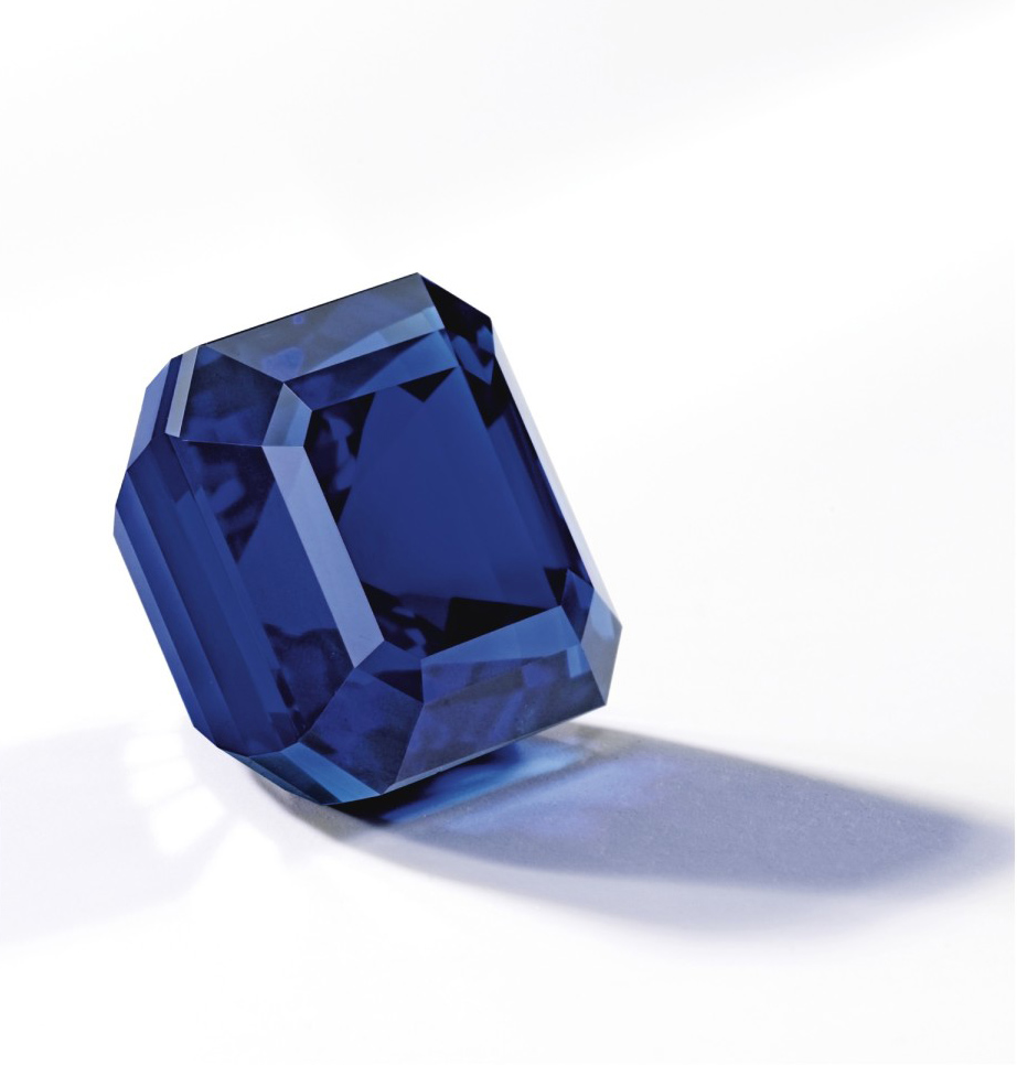 "The ""Jewel of Kashmir,"" a magnificent 27.68 ct sapphire set a new per carat auction record for sapphire on 7 October 2015, when it sold for $6,745,688 ($243,703/ct) at Sotheby's Hong Kong. Image © Sotheby's"