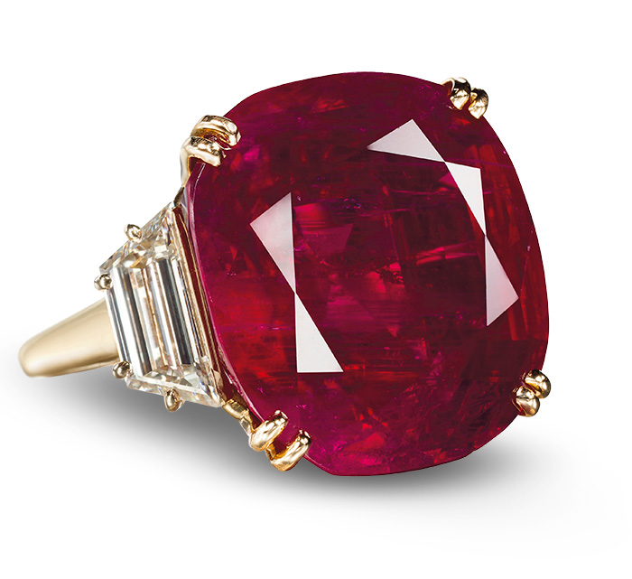 In 2012, this 32.08 ct Burmese ruby ring by Chaumet sold for a spectacular US$6,736,750, or $209,998/ct, then a total price world ruby auction record. Image © Christie's
