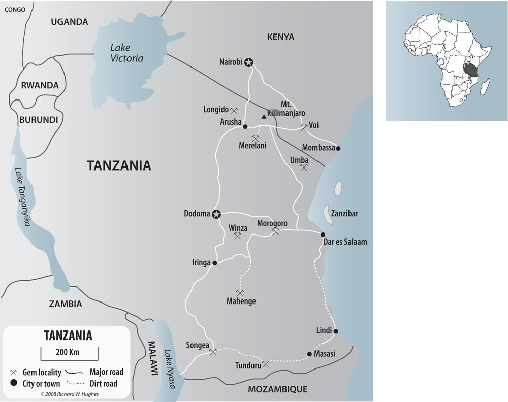 Map of Tanzania and southern Kenya, showing the major gem localities. The tanzanite mines of Merelani are located just south of Mt. Kilimanjaro. Click on the map for a larger version. Map: R.W. Hughes