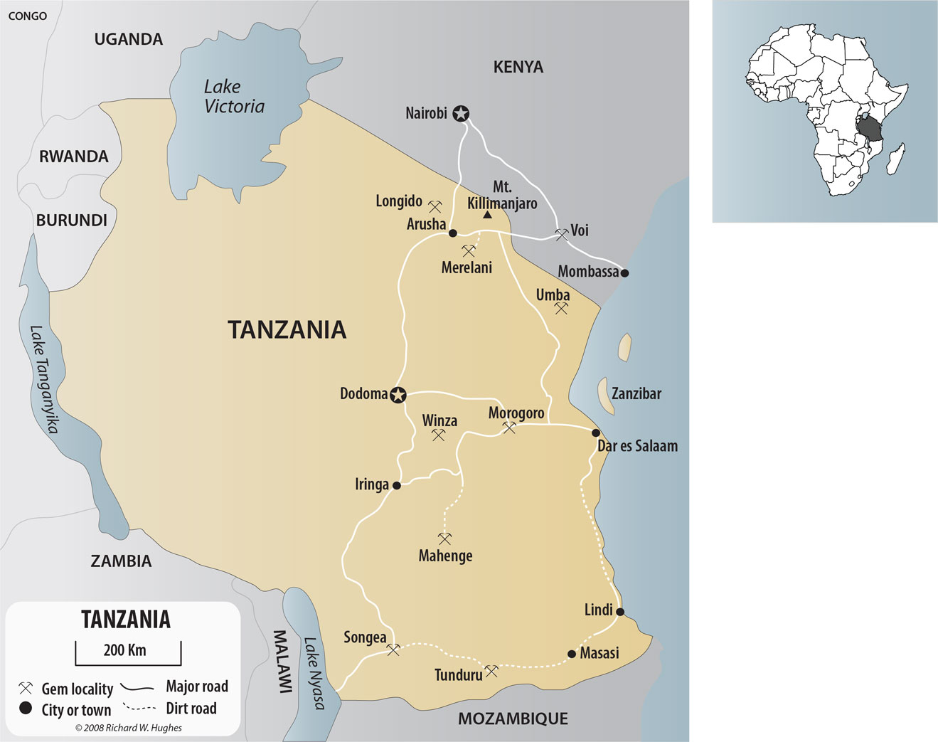 Map of Tanzania and southern Kenya, show the major gem localities. Map © R.W. Hughes