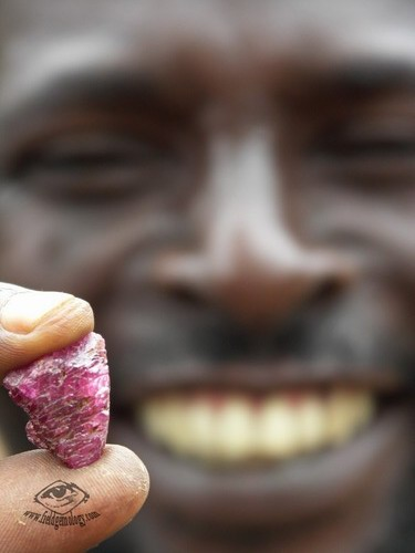 Mr. Esperitus, displaying his ruby find at Lukande, near Mahenge. He was responsible for first discovering the spinel mines at Ipanko. Photo: Vincent Pardieu