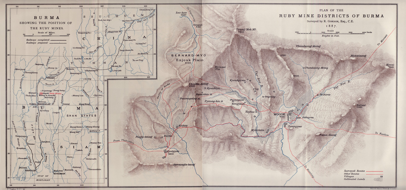 Figure 1. Map of Upper Burma and the Mogok Stone Tract. From Gordon (1888).