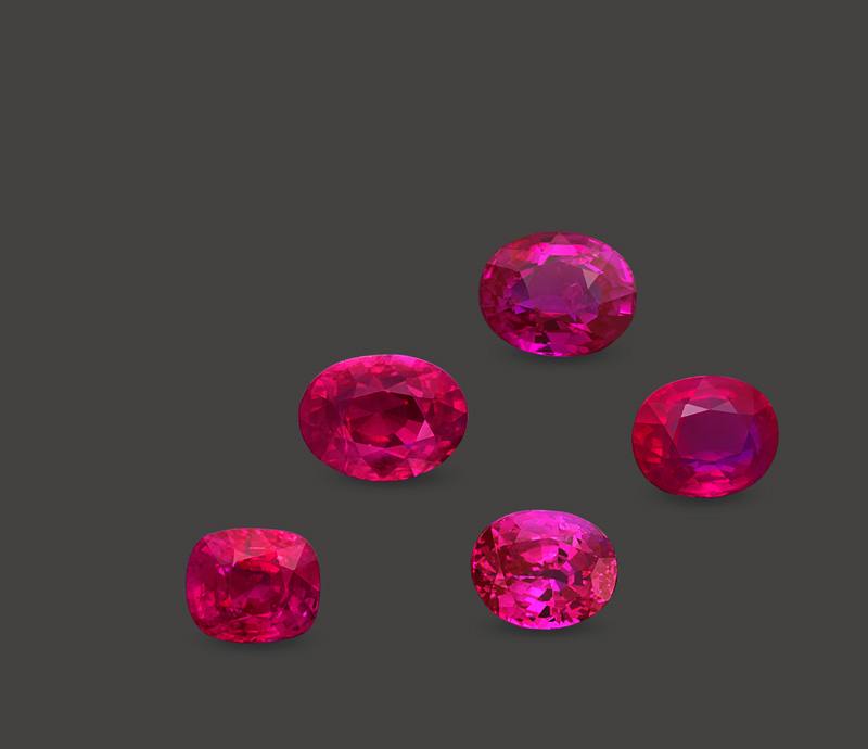 "Figure 2. A ""royal flush."" Five natural, unheated Mogok rubies from 3.02-4.02 ct. Specimens courtesy of Veerasak Gems. Photo: Wimon Manorotkul"