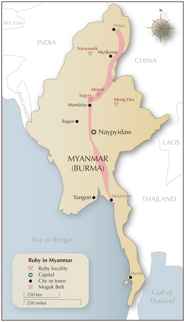 Figure 6. Map of Myanmar showing the location of Mogok and the Mogok Belt. Map: Richard W. Hughes