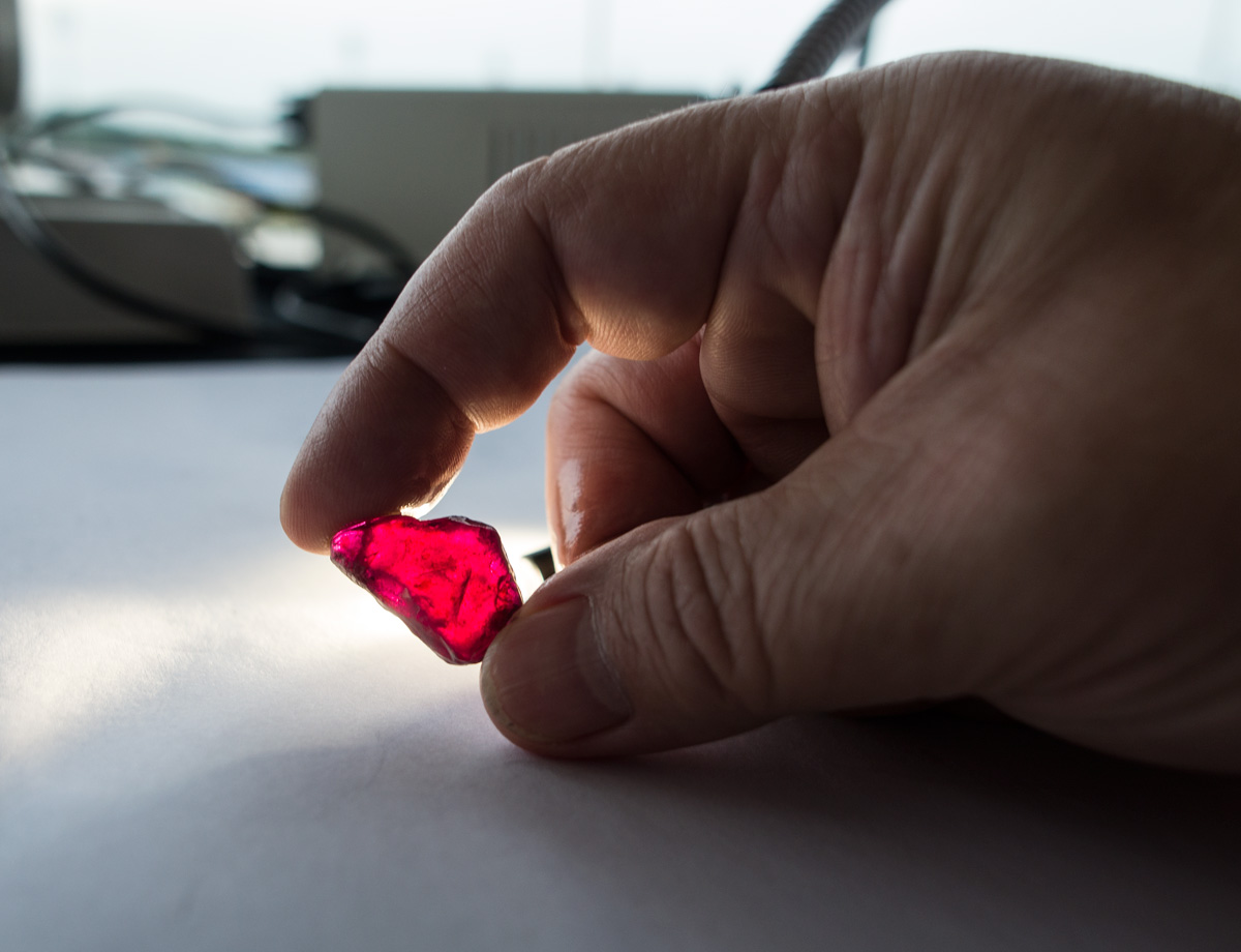 "Weighing in at a massive 40.22 ct, the ""Rhino ruby"" was auctioned at Gemfields' December 2014 Singapore sale. It was the largest fine ruby mined by Gemfields to date. Photo: E. Billie Hughes/Lotus Gemology"