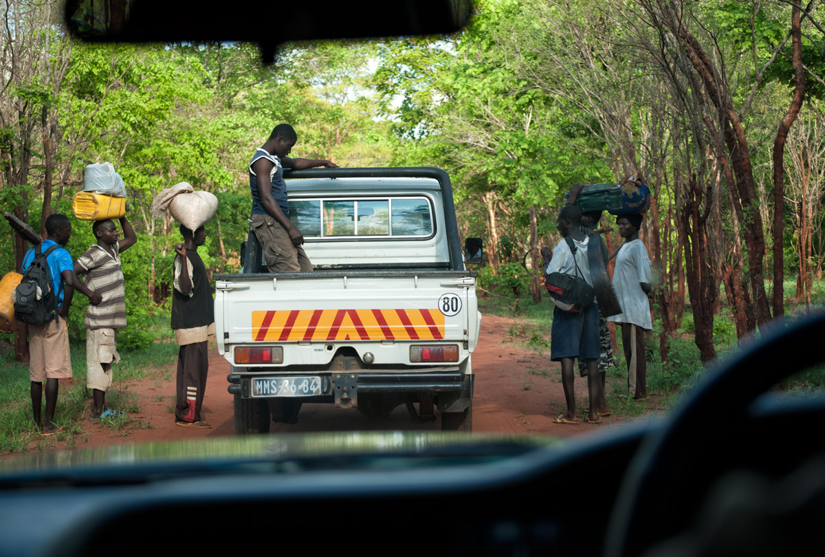 Garimpeiros (independent prospectors) on the road to the ruby mines in the bush near Montepuez, Mozambique, December 2009. Photo: Richard Hughes/Lotus Gemology.